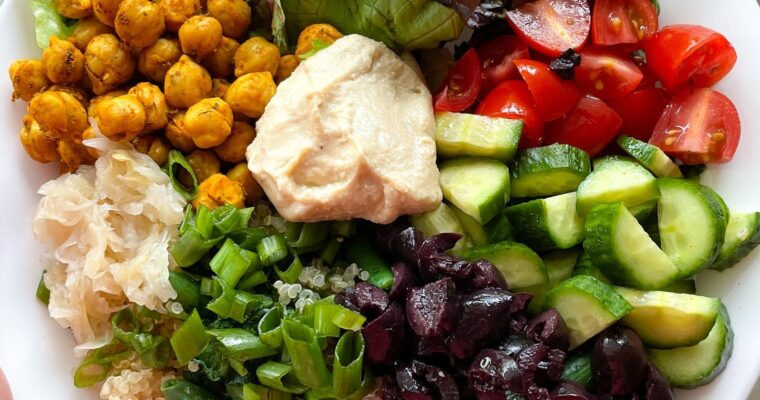 Vegan Mediterranean Bowl with Chickpeas and Tahini Dressing
